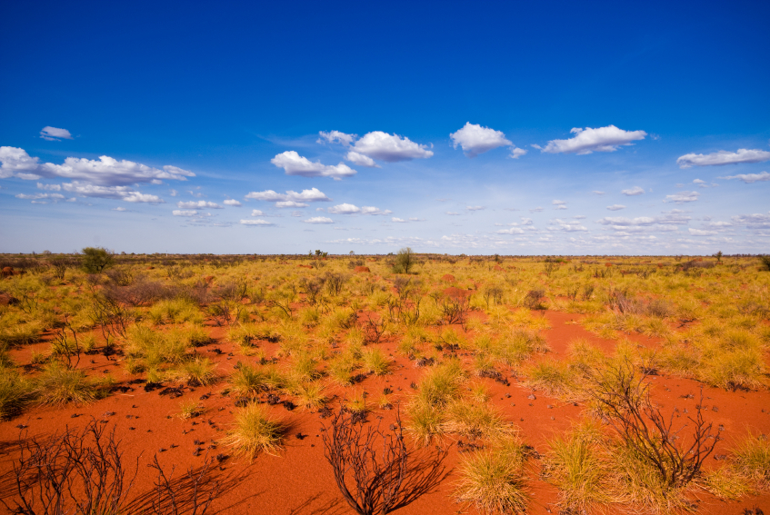 Outback landscape-red earth blue sky